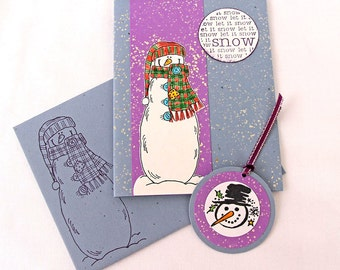 Snowman Christmas Cards, Set of 8 Notecards with Matching Gift Tags, Boxed Handmade Holiday Cards, Blue and Purple, Let it Snow, Blank Cards