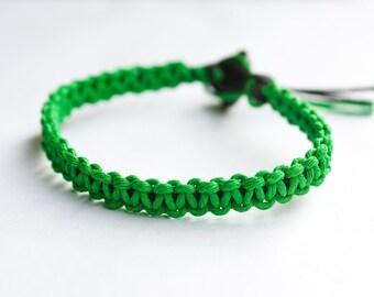 Green and Black Hemp Bracelet Friendship Mens Bracelet Womens Bracelet