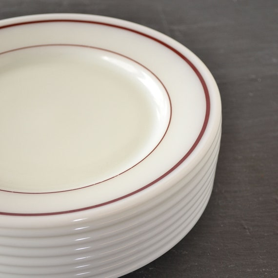 Vintage Pyrex Dinner Plates Ruby Red Band Striped Plate