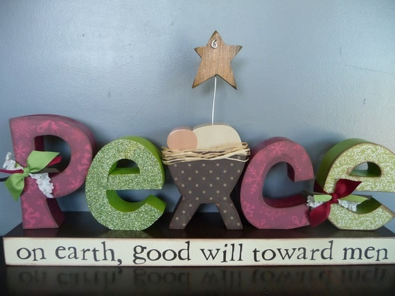 PEACE on earth letter set --Ready to Ship