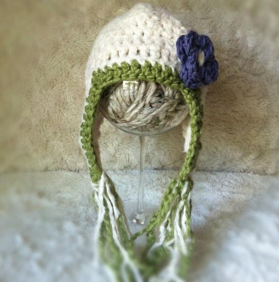 soft ivory bamboo/green organic cotton crochet wide earflap newborn hat with purple flower,  newborn size