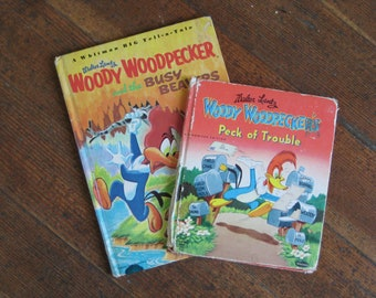 Set of 2 Vintage Children's Books - Woody Woodpecker and the Busy Beavers & Woody Woodpeckers Peck of Trouble (Whitman)