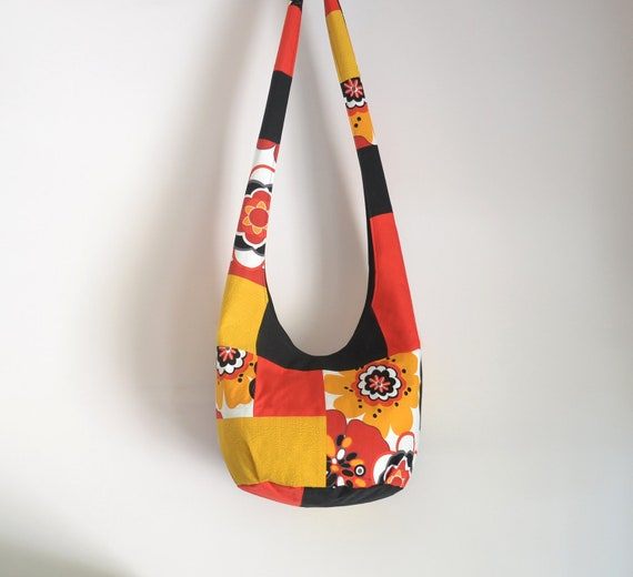 Patchwork Hobo Bag, Boho Bag, Upcycled, Flowers, Black, Mustard Yellow, Red, Sling Bag, Hippie Purse