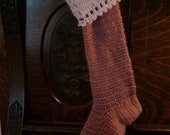 SALE Pink Crocheted Stocking