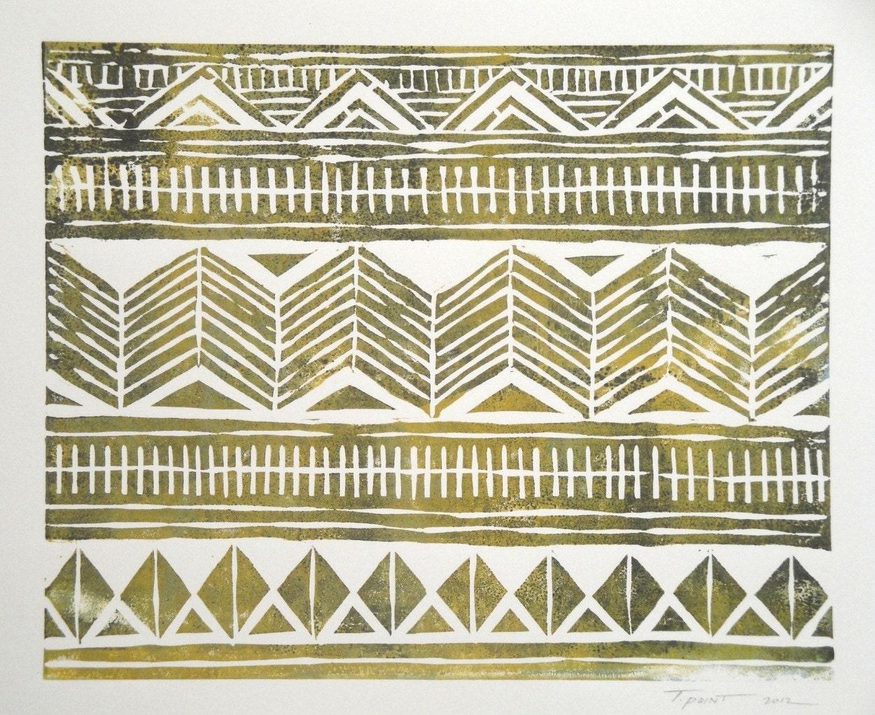 Fun Tribal Pattern Linocut Art Print / 8 x 10 Home by ...