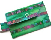 Key Ring Fabric Wallet, Gift Card Holder, Green Batik Stripes