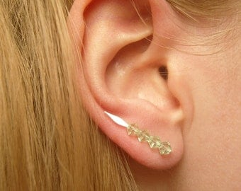 High Fashion Earrings, Pin Earrings, Green Swarovski Crystal Earrings, Crystal Jewelry