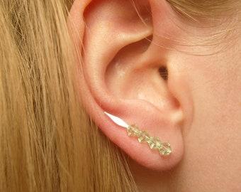 Green Ear Climbers, Pin Earrings, Green Swarovski Crystal Earrings, Crystal Jewelry