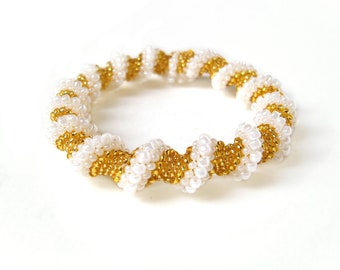 Gold Spiral Bracelet, Twisted Bead Rope Bracelet, Seed Bead Bracelet, UK Seller