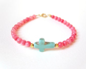 Sideways Cross Bracelet, Turquoise Cross Pink Coral Bracelet, Beaded Bracelet, UK Seller
