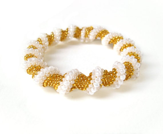 Gold Spiral Bracelet, Twisted Bead Rope Bracelet, Seed Bead Bracelet, UK Seller