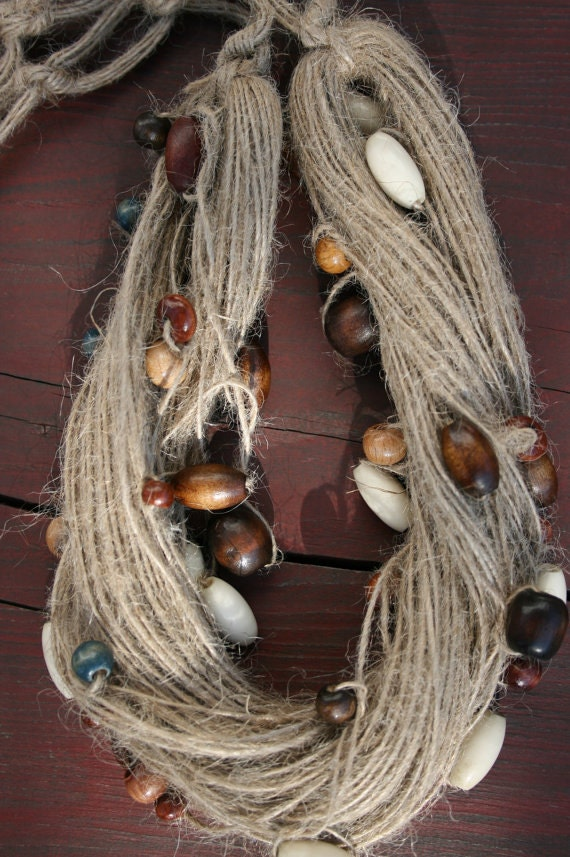 Beaded hemp necklace - Tribal necklace - Rustic necklace - Pixie necklace - Hippie necklace