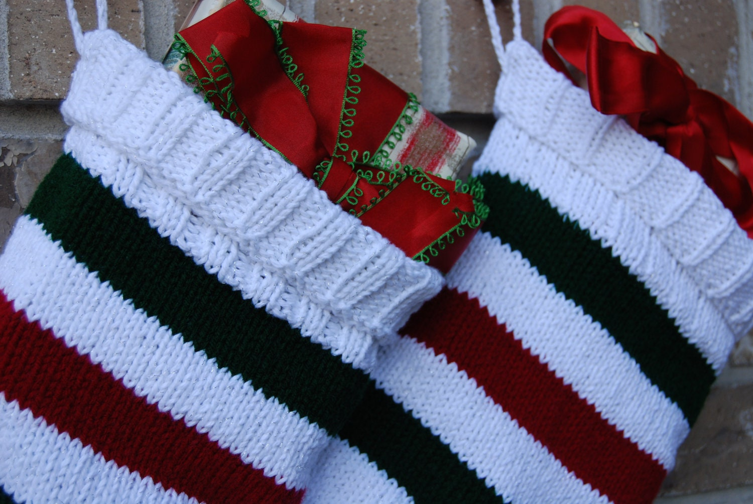 Knit Pattern For Striped Christmas Stocking : Red and green Christmas Stocking knit striped stocking knit