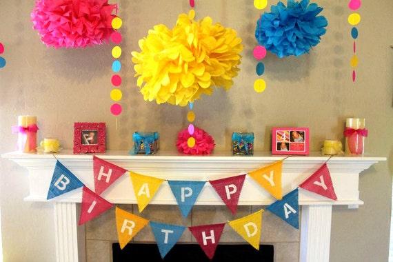 Items similar to Girl Happy Birthday Burlap Bunting Banner ...