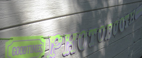 Old Tyme PhotoBooth Banner In Lime Green and Lavander - Wedding, Baby Shower, Birthday Party