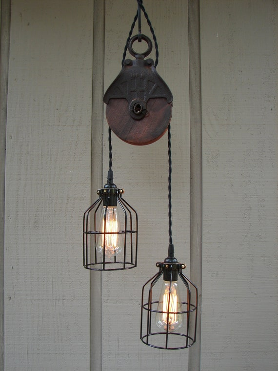 RESERVED for PAISLEY / Upcycled Vintage Farm Pulley Lighting Pendant with Bulb Cages
