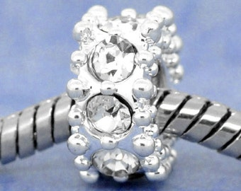 Rhinestone Spacer Beads Silver 11x6mm 3pcs - Ships IMMEDIATELY  from California - B157