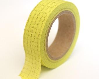 Washi Tape Lemon Green Ledger - 15mmx10m - 1 Roll - Ships IMMEDIATELY from California - TP124