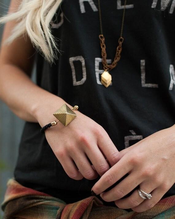 Rope Bracelet : Autumn Jewelry - Black Rope Bracelet with Vintage Brass Pyramid