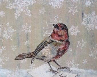 "Bird, Winter White Bird Print, UNFRAMED Let It Snow Bird Painting Print, Vintage Christmas Holiday Decor 8"" x 10"""