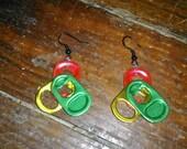 Rasta colors pull tab earrings