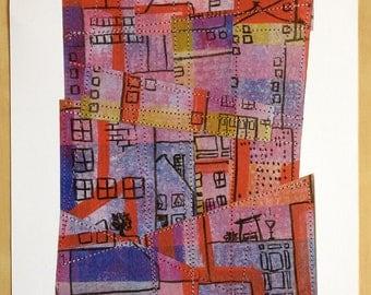 Urban Home Collage - Fine Art Print of my Original Painting