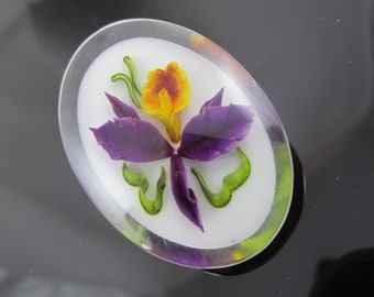 Beautiful Vintage Reverse Carved Lucite Orchid Brooch