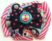 Black Pink Navy Turquoise Lime Multicolor Polka Floral & Polka Dots Stacked Boutique Style Ribbon Handmade for PETS Dog Bow Collar Accessory