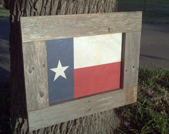 Aged Texas Flag Print with Barnwood Frame