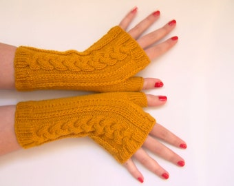 Yellow Mustard Fingerless Gloves Cabled Warm