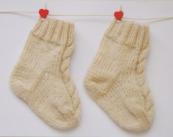 Beige Cream Baby Socks Cabled