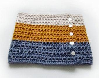 Crochet Cowl Blue Mustard Beige Warm - Ready to ship