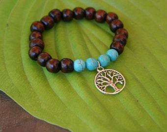 Yogi inspired wood bead mala meditation bracelet with tree of life charm and turquoise for men or women