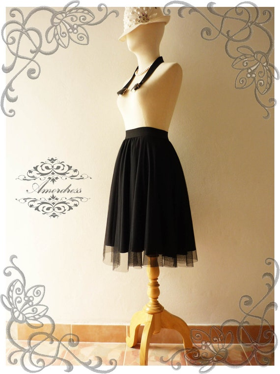 Amor Vintage Inspired  Fairy Tutu Circle Skirt Mix and Match -Black Forest-