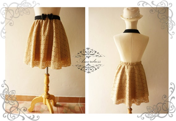 NEW TODAY Vintage Style Handmade 1960's Inspired Flare Chic Brown Beige Lace Mini Skirt Mix and Match
