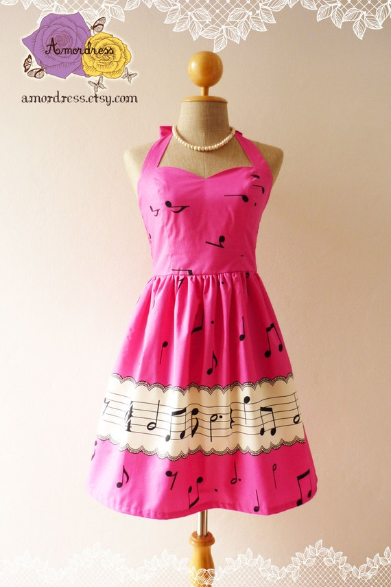 SALE -Music In Pink Hot Pink Dress Music Note Dress Pink Party Dress Pink Bridesmaid Dress Concert Dress Retro Cocktail -Size xs-xl, custom