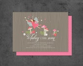 Woodland Fairy Party Invitation with Fairies, Toadstools and magic dust (digital)