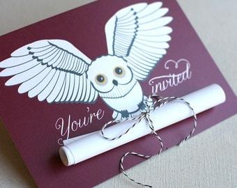 Snowy Owl Scroll Invitation, Harry Potter inspired (15)