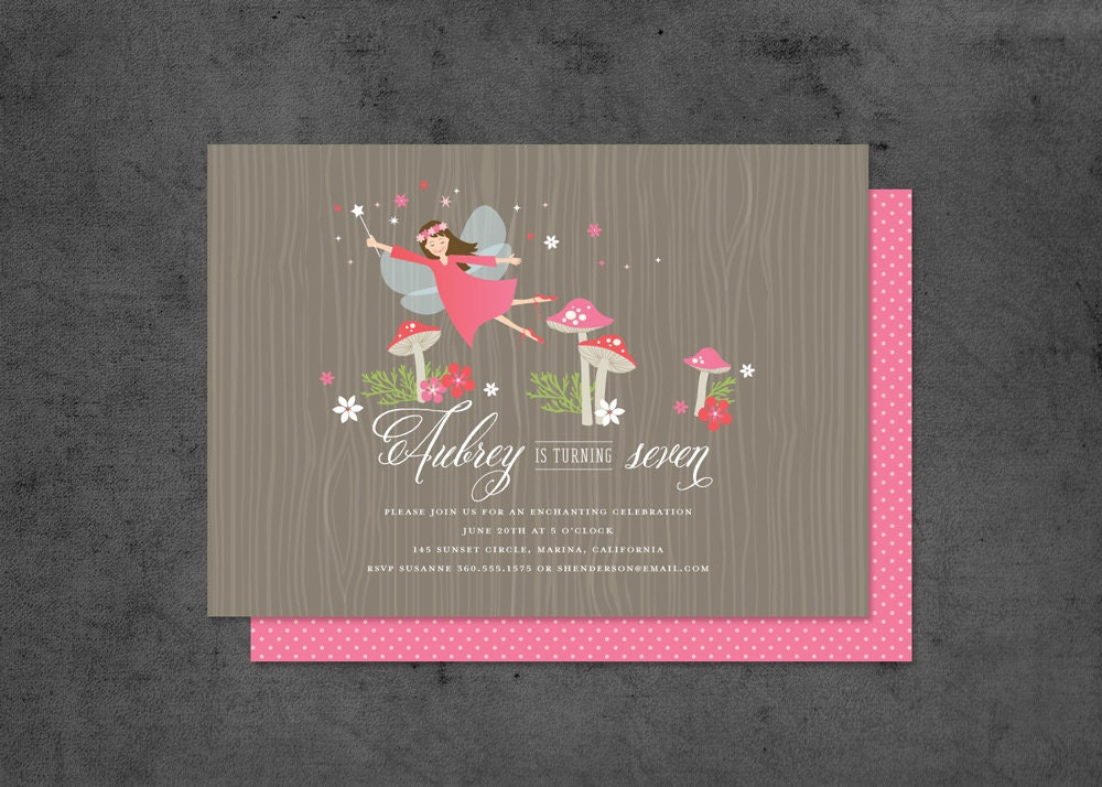 woodland fairy party invitation with fairies and toadstools