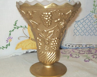 Vintage Gilded Milk Glass Vase, Anchor Hocking, Grape Vine Pattern, Vine and Grape