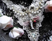 Lace Applique, Black Ox Cameo with Vintage Doll Leg and Rose, Vintage Rosary Chain, Vintage Pearl Teardrop Bib