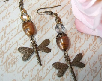 Chocolate Ox Brass Dragonfly Sparkle Dangle with Pearl and Czech Crystal