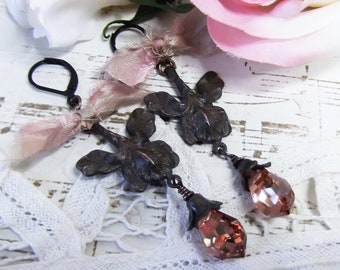 Rusty Black Patina Iris, Czech Pink Briolette, Tattered Sari Silk, Ribbon Dangle