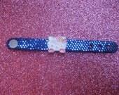 Hello Kitty Inspired Slide Charm Leather Ring-Glitter Blue