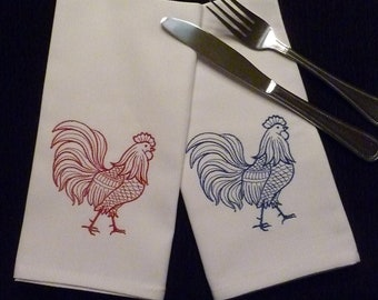 Set of 6 Cloth Cotton Embroidered Dinner Napkins- ROOSTER