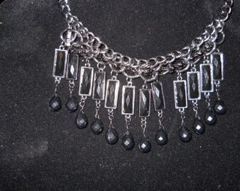 Bling black and siver beaded necklace