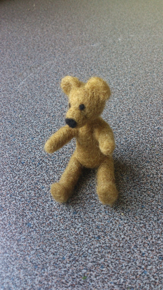 Needle felted olive green teddy bear - free shipping CIJ sale