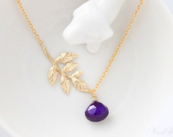 Forbidden Fruit Necklace, Deep Amethyst Chalcedony Necklace, Gold Leaf Necklace