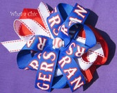 Cheer Bow Red White and Blue Texas Rangers Inspired Hair Bow