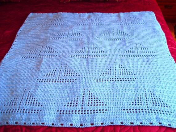 Crochet Yacht Patterns : Crochet Baby Boy Blanket Sailboat Pattern by SilviaEmbroidery